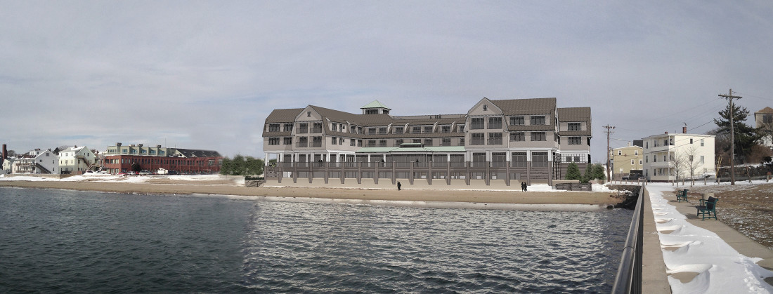Beauport Hotel Exterior Rendering - overlay on existing conditions photograph