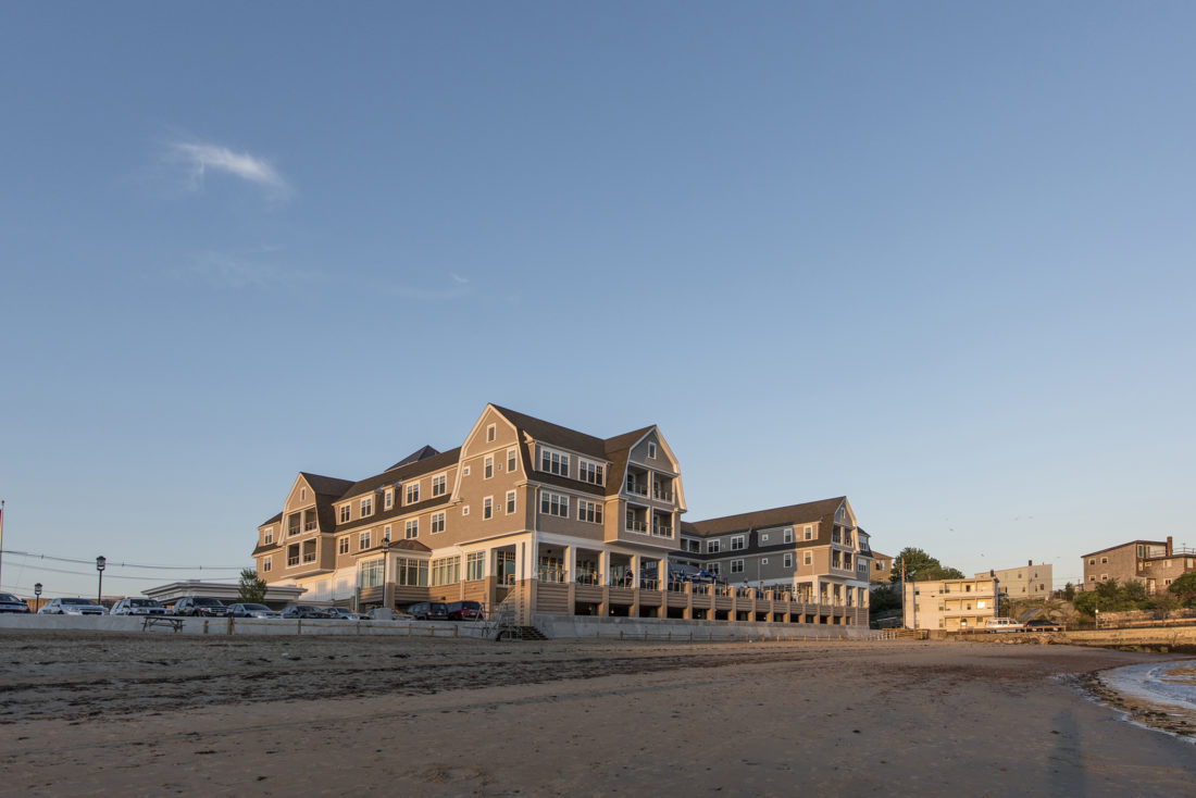 Beauport Hotel from Pavilion Beach at dusk
