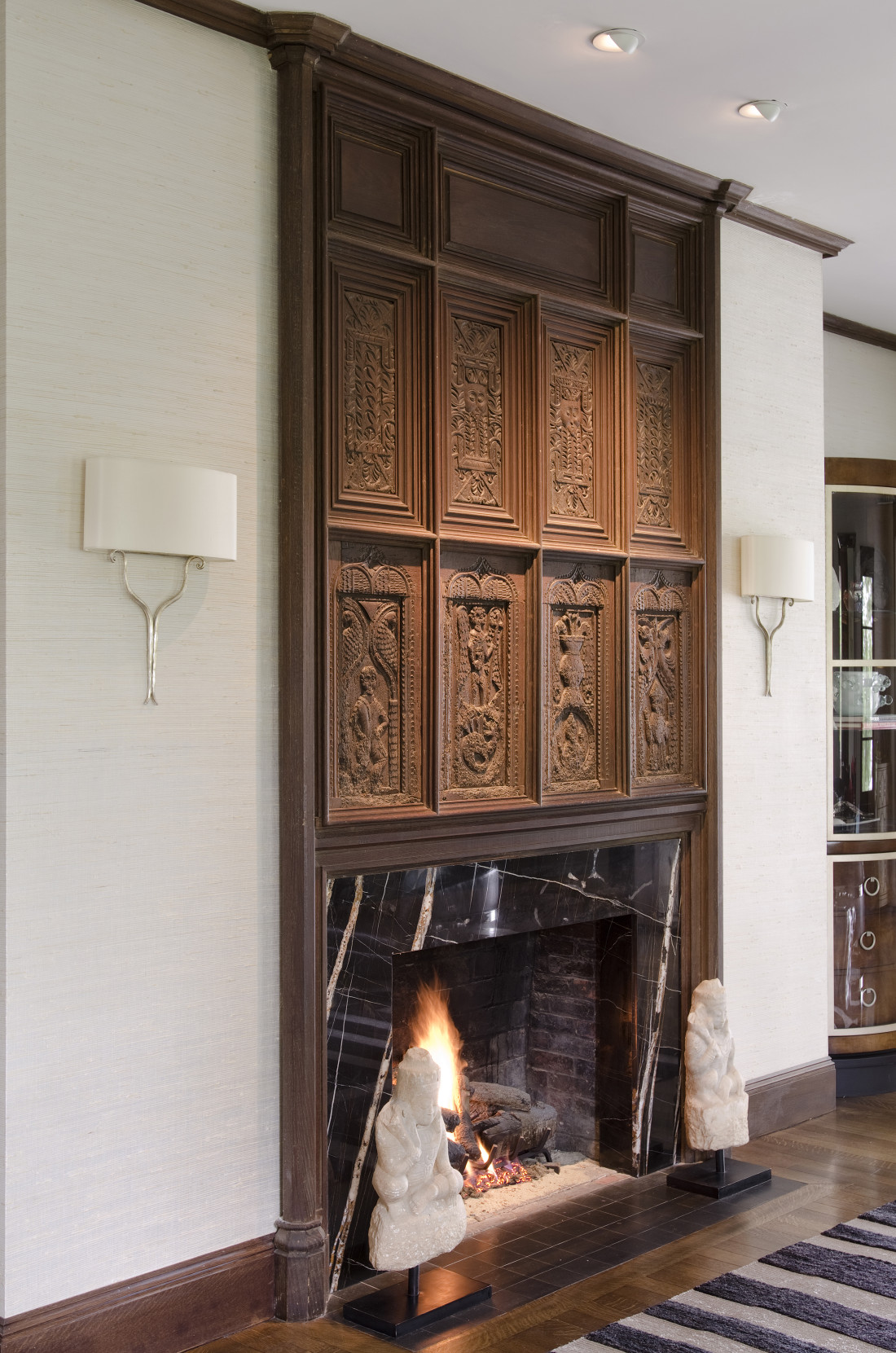 Marble Fireplace with reclaimed Wood Paneling