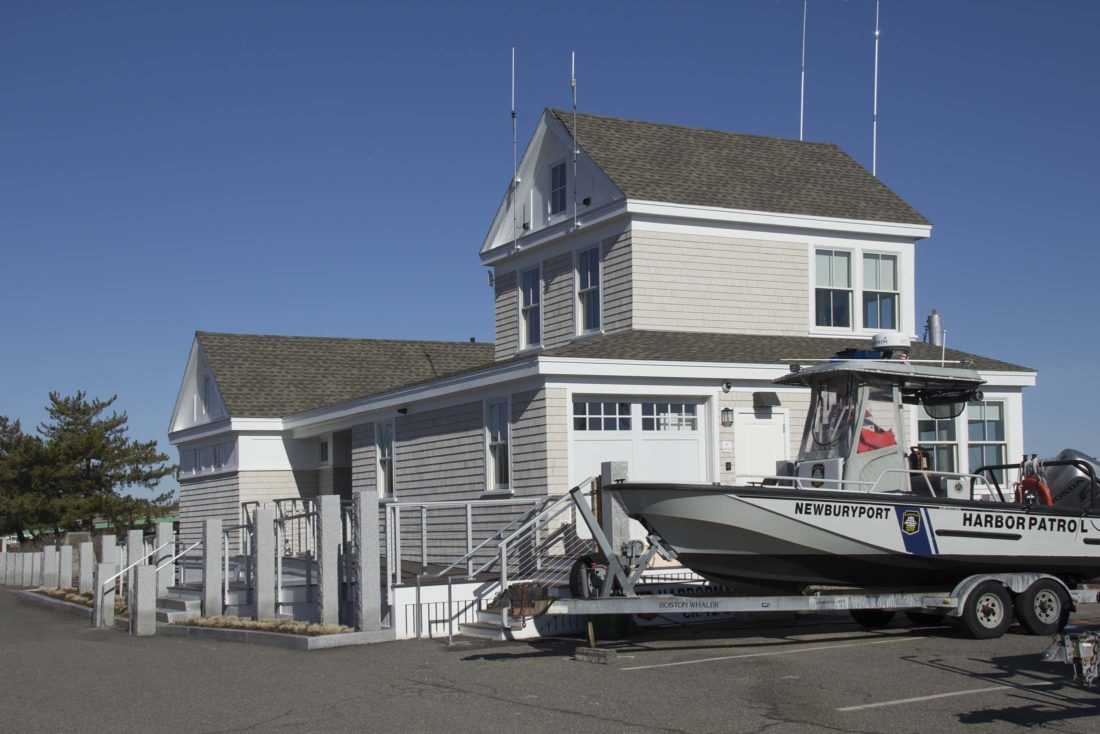 Harbormaster vessel near the entrance